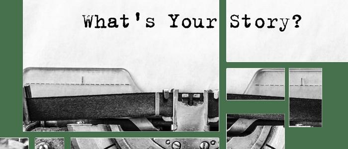 Schreibmaschine - Text auf dem Papier - Whats your story - Storytelling … das ist die Kunst, eine gute Geschichte zu erzählen.